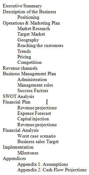 Executive training business plan