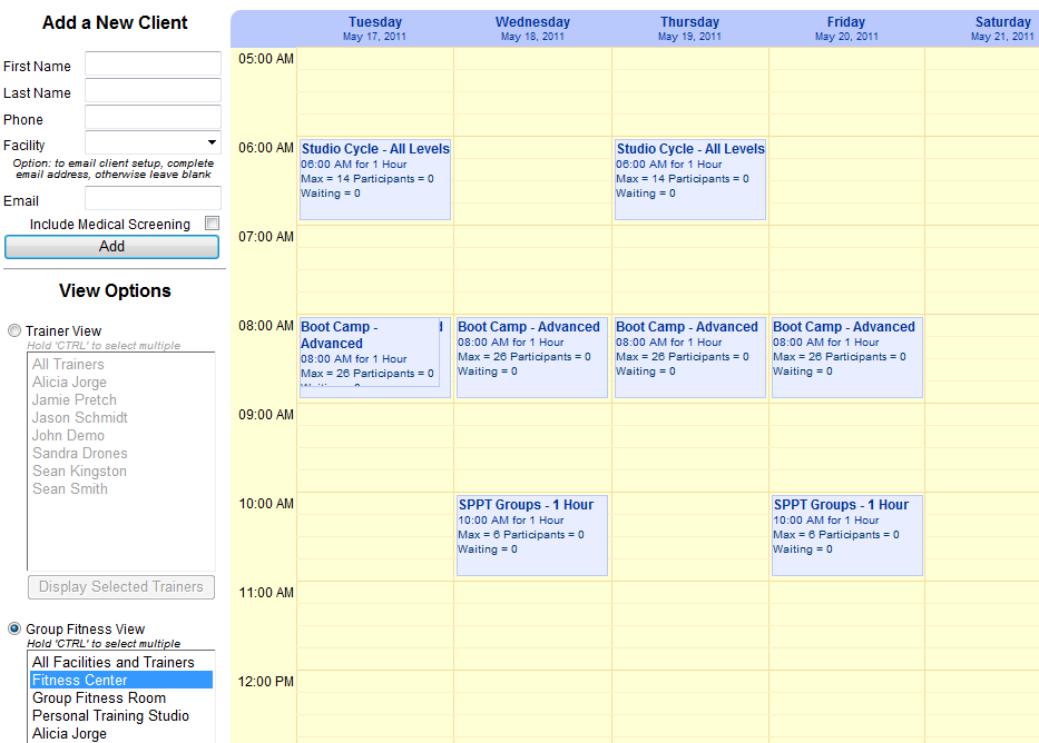 personal trainer scheduling software